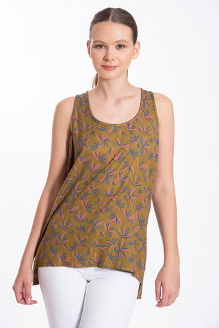 Fusioni natural made top in leaves pattern