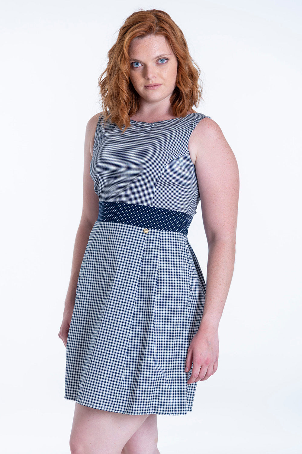 Makis Tselios cute dress with check contrast patterns