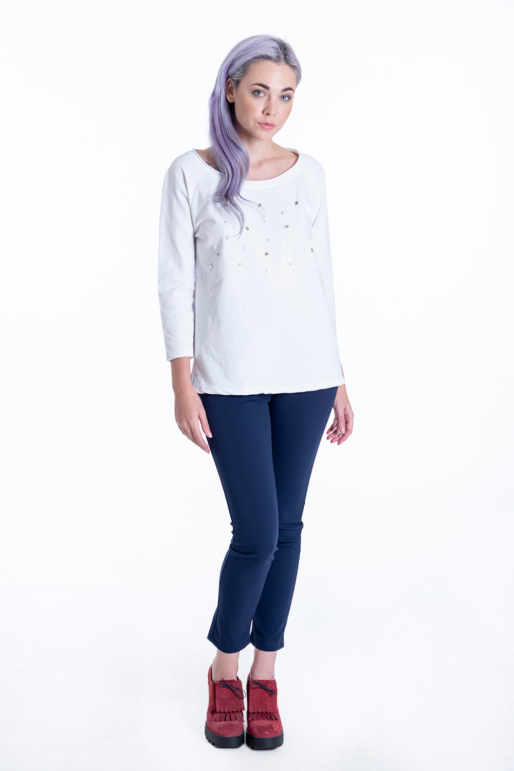 Pearls and studs embellished top in 3/4 sleeves
