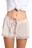 Laurie & Joe soft velvet shorts with lace trim