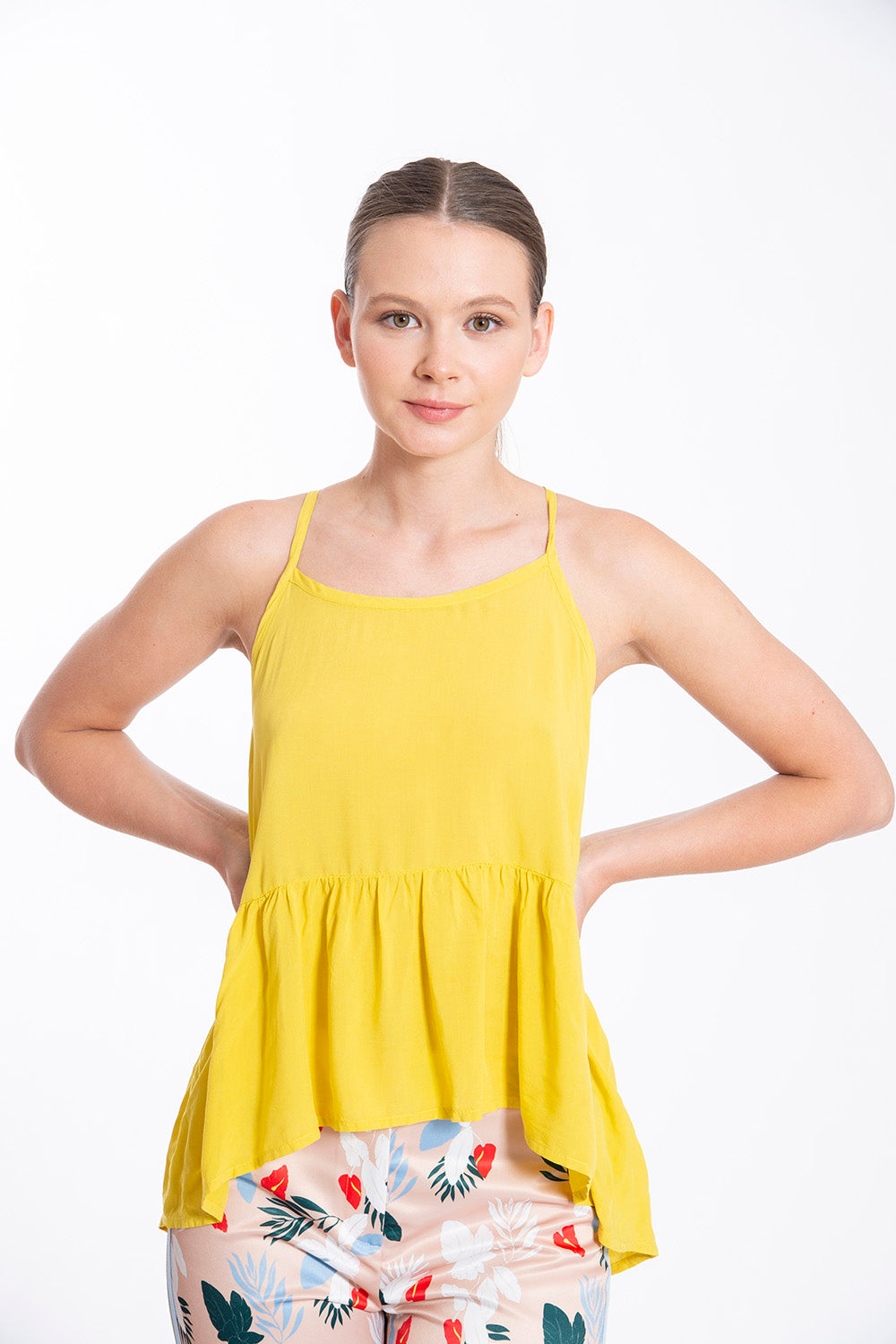 Studio Parisien asymetric yellow peplum cami straps top