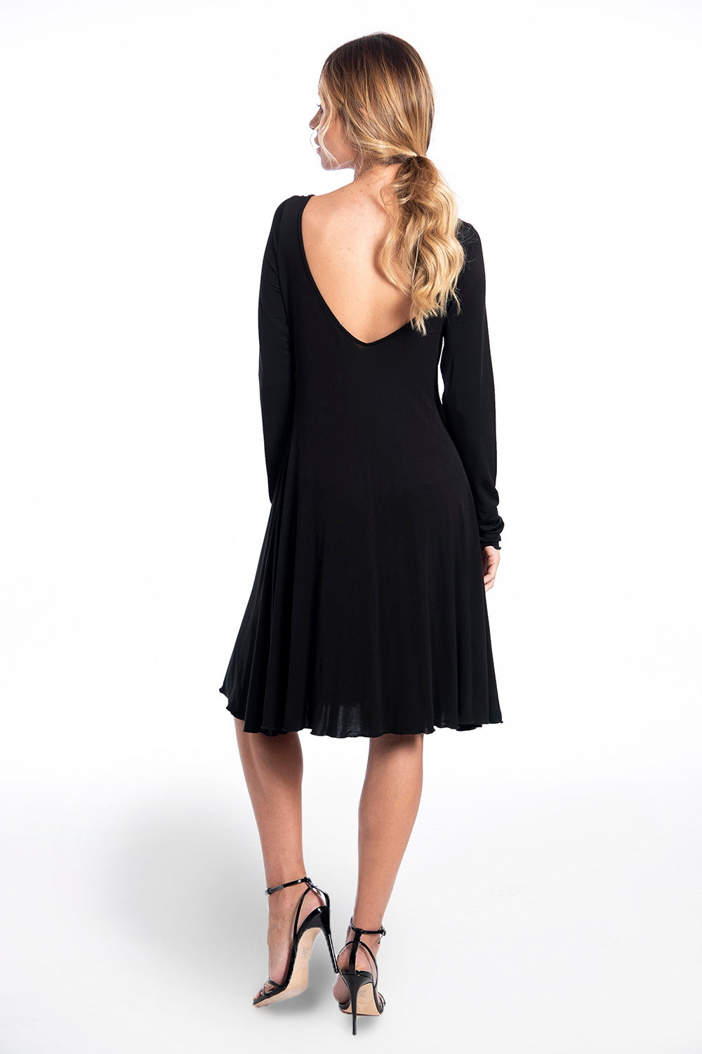 Stretch black skater dress with buckle detail