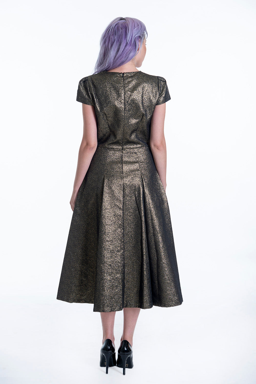 Imperial gold midi sparkling dress