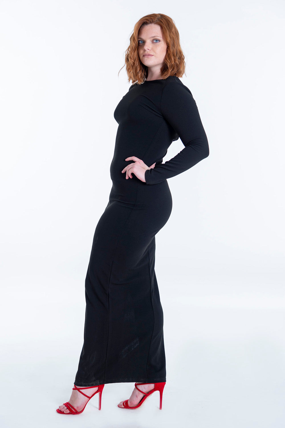 Long sleeve maxi dress with open back