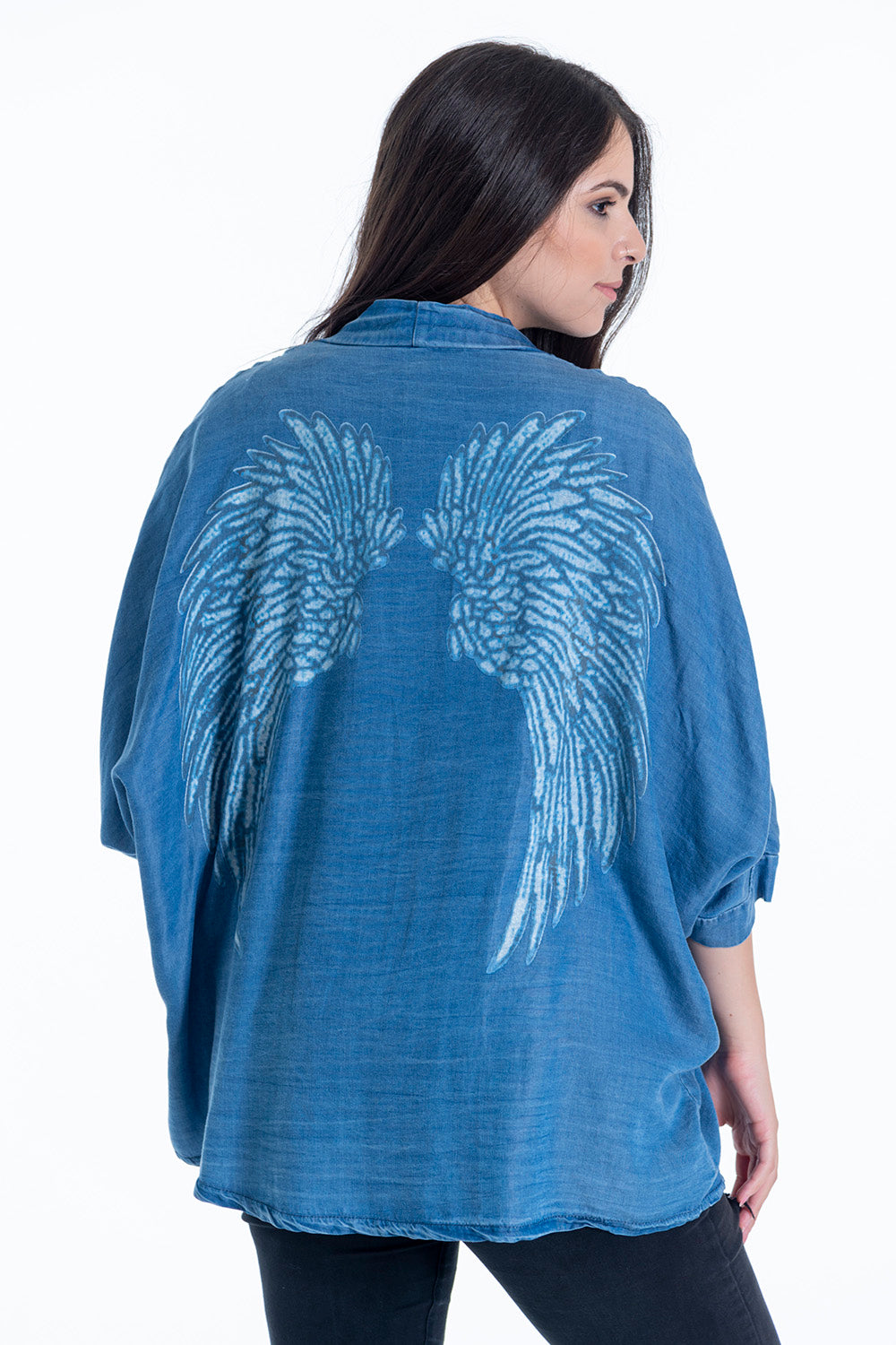 GD Golden Days denim look cardigan with wings back pring