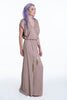 Maxi dress with buttoned plunge and robe belt