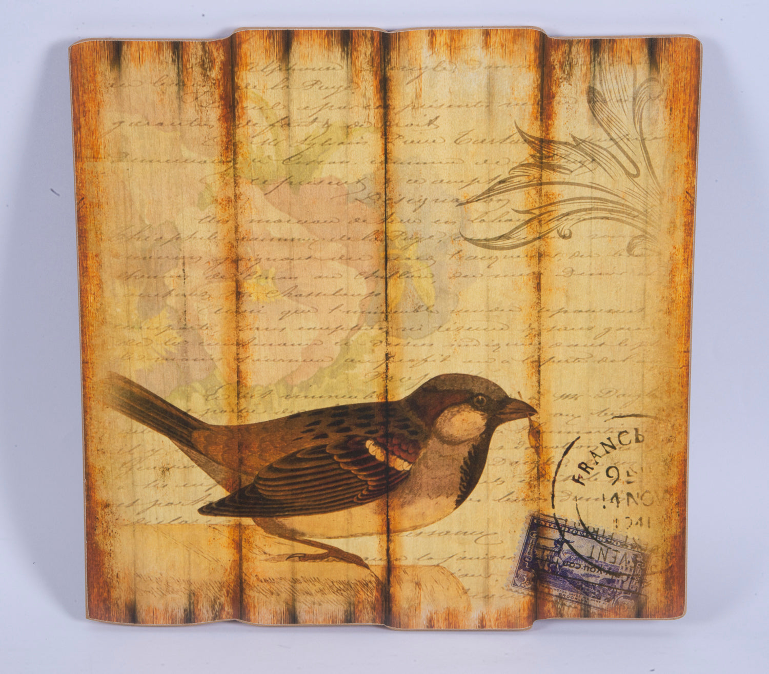 Wooden paint with bird print