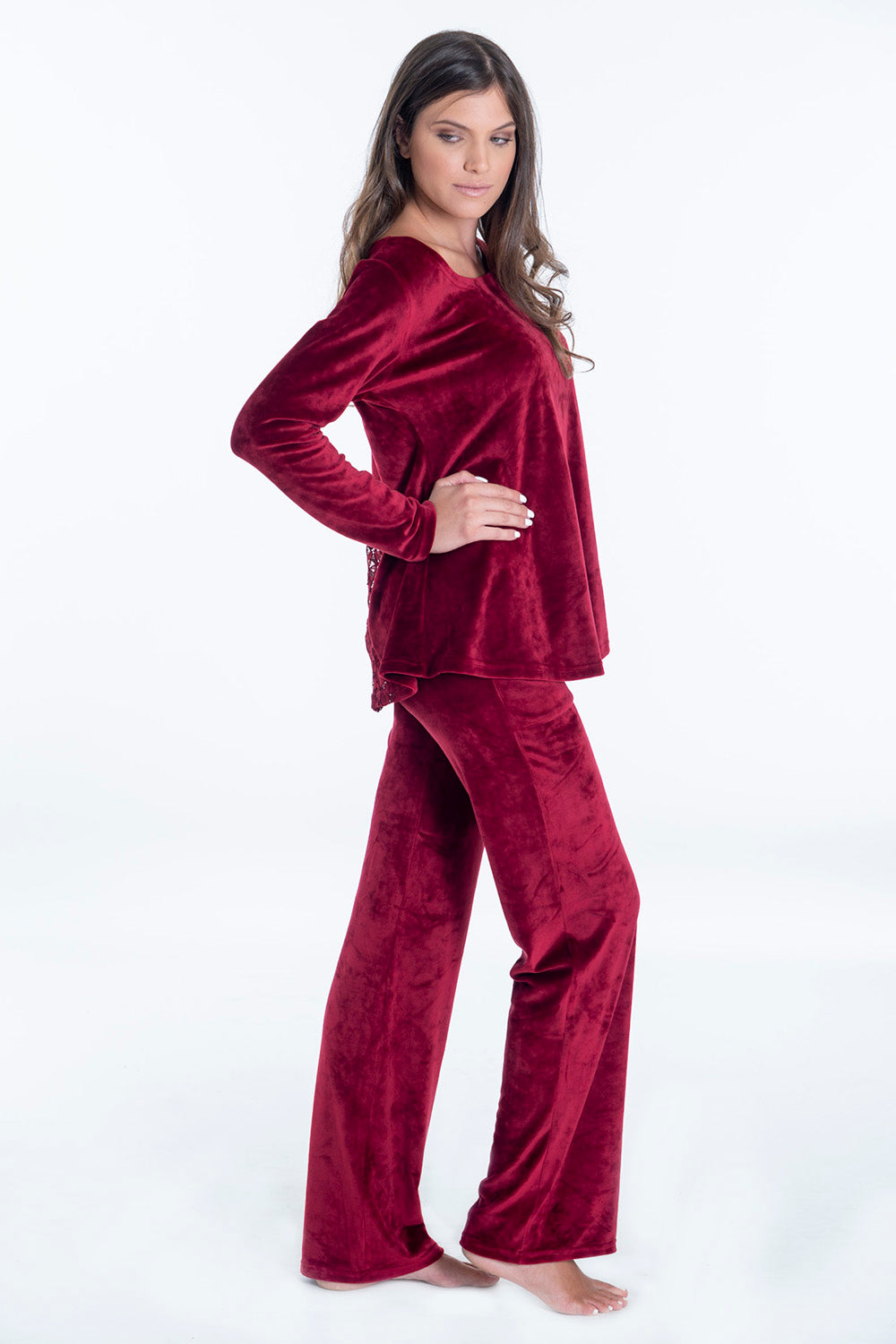 Pixie oversized velvet loungewear jumper with scoop neck and lace back