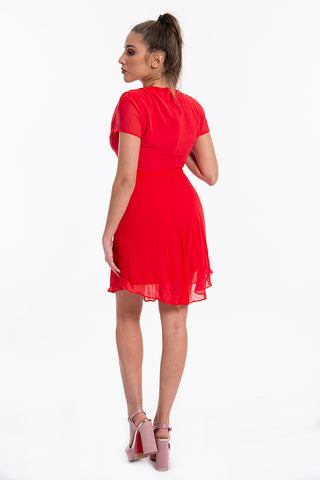 Glamorous skater dress in chiffon and waist tie