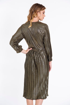 Metallic pleated midi dress with zic zac pattern