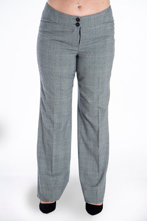 Check flare trousers with crease