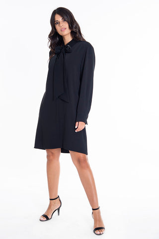 Teem A line high neck tie dress