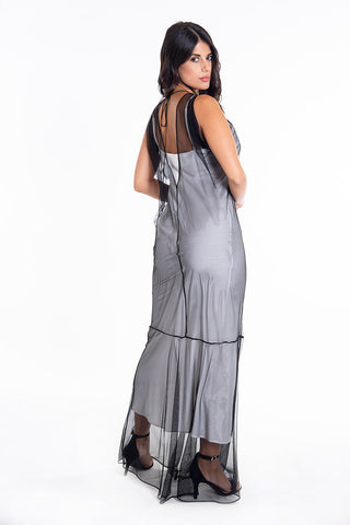 C-Throu net maxi dress with crystal details
