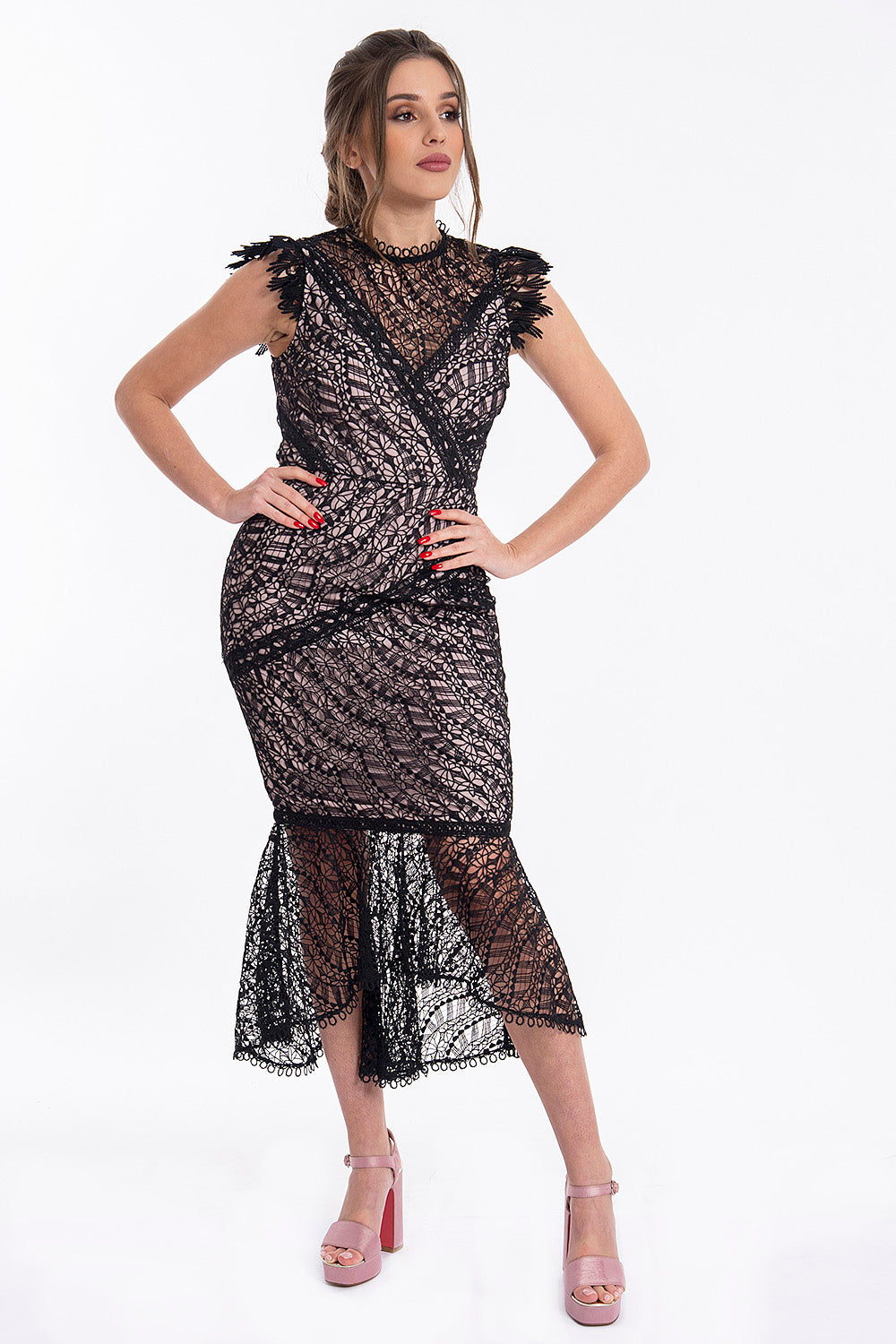 True Decadance trumpet lace dress with inner V plunge