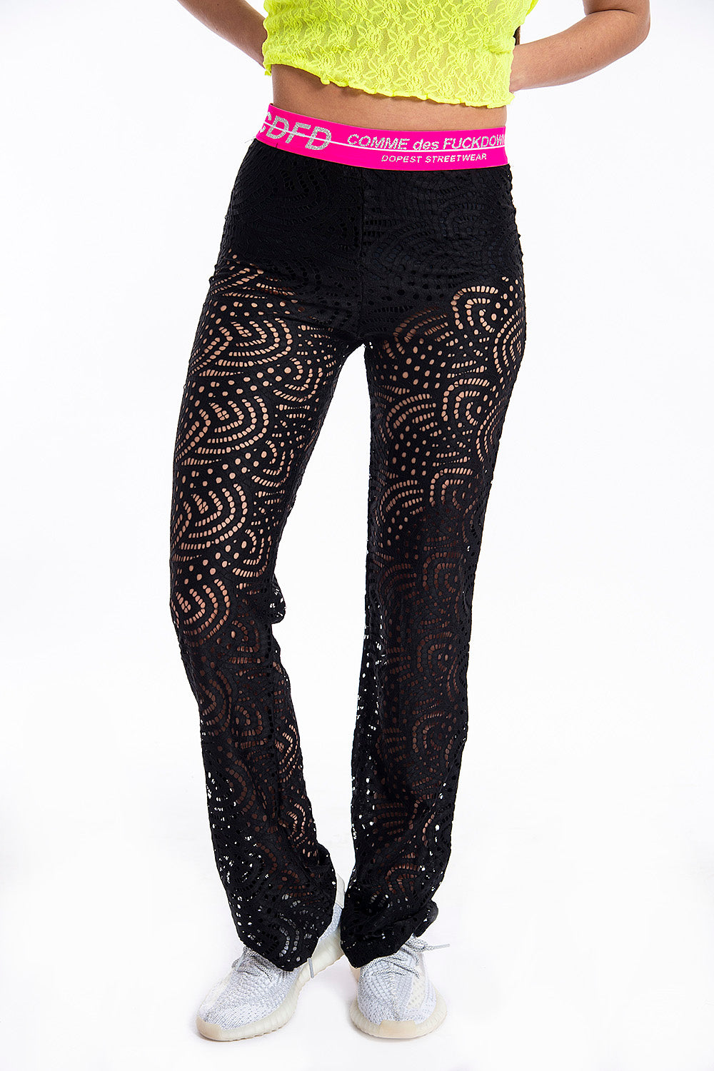 Comme des Fuckdown lace trousers in flare leg