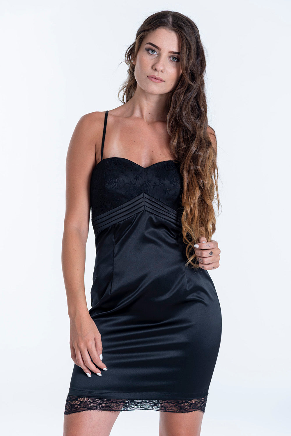 best manuel lace details silk dress with cami straps