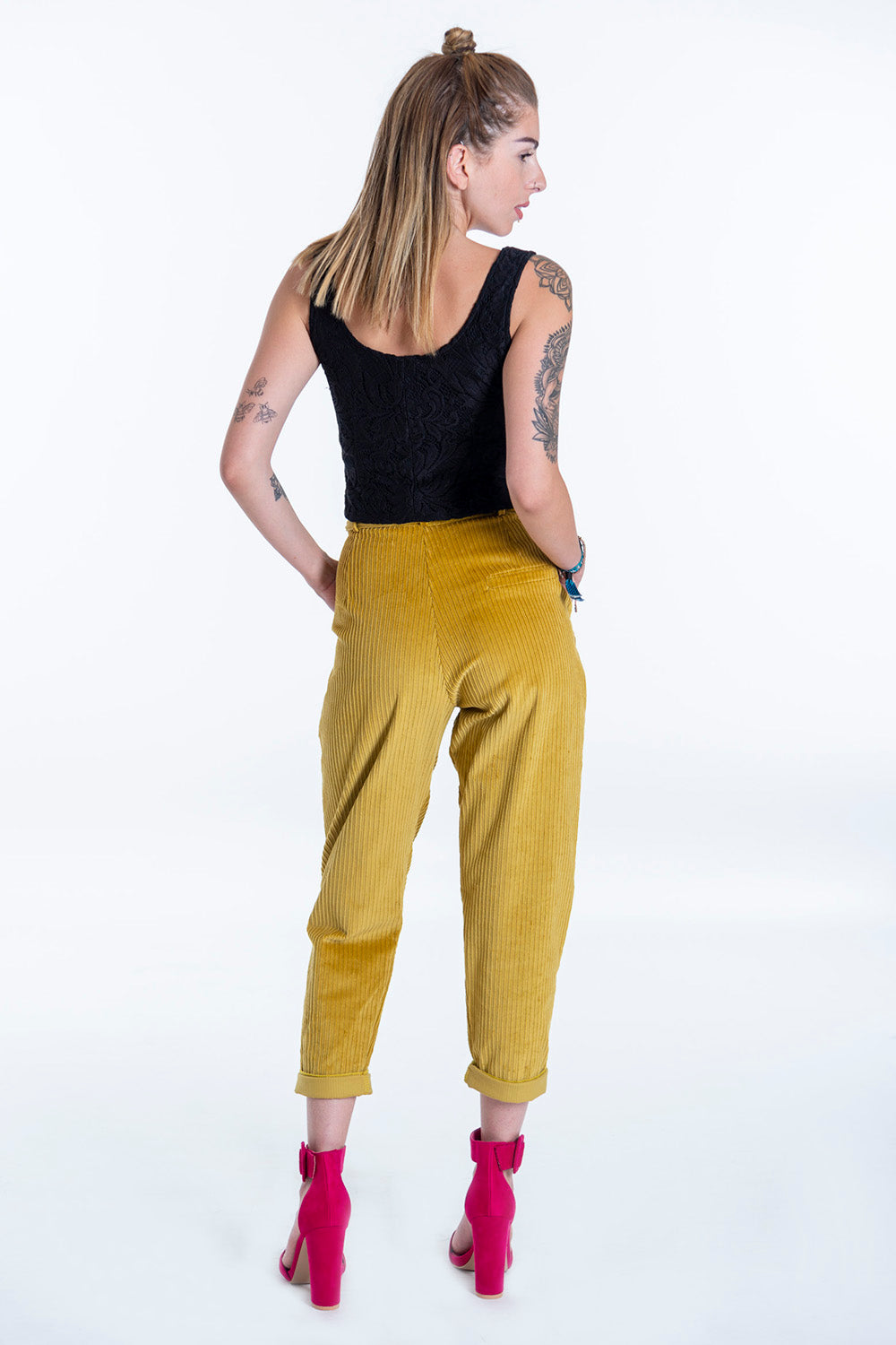 Mustard paperbag trousers with belt