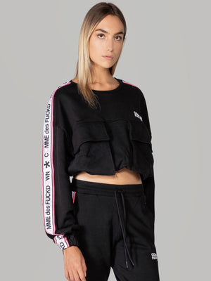 Comme des Fuckdown oversized cropped top with front pockets