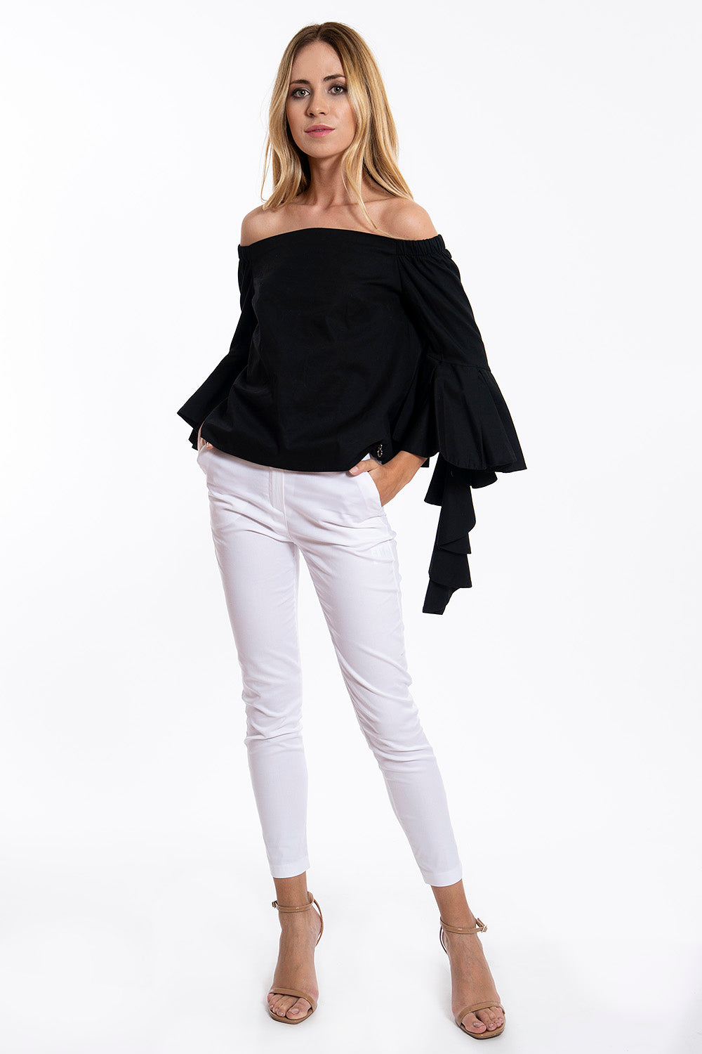Relish bardot frills long sleeves top