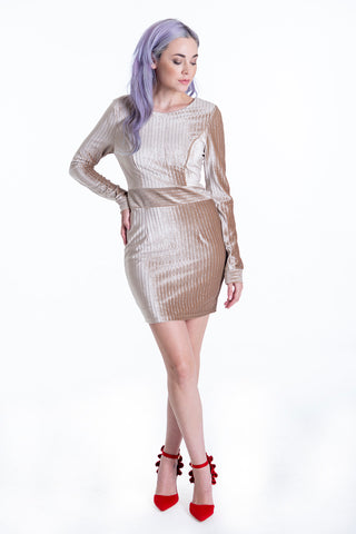 Long sleeved velvet metallic mini dress