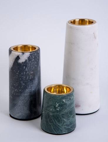 Godinger Set of 3 Marble Candle Holders
