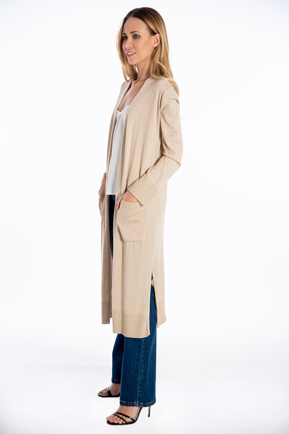 Infinity Knitwear fine long cardigan with front pockets