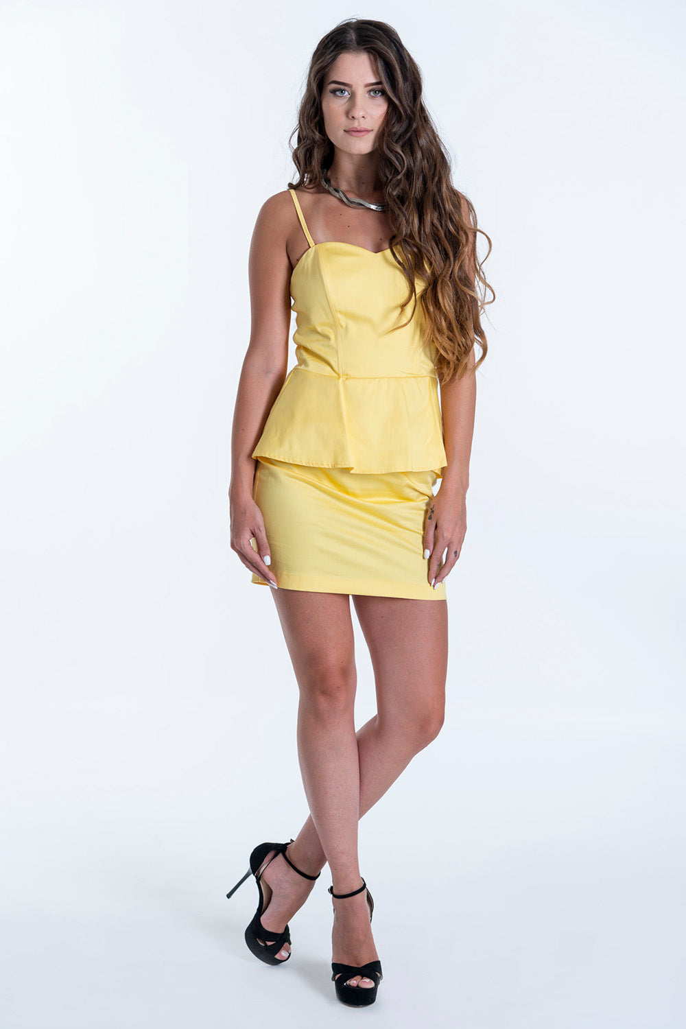 On Line detachable cami straps with peplum in waist