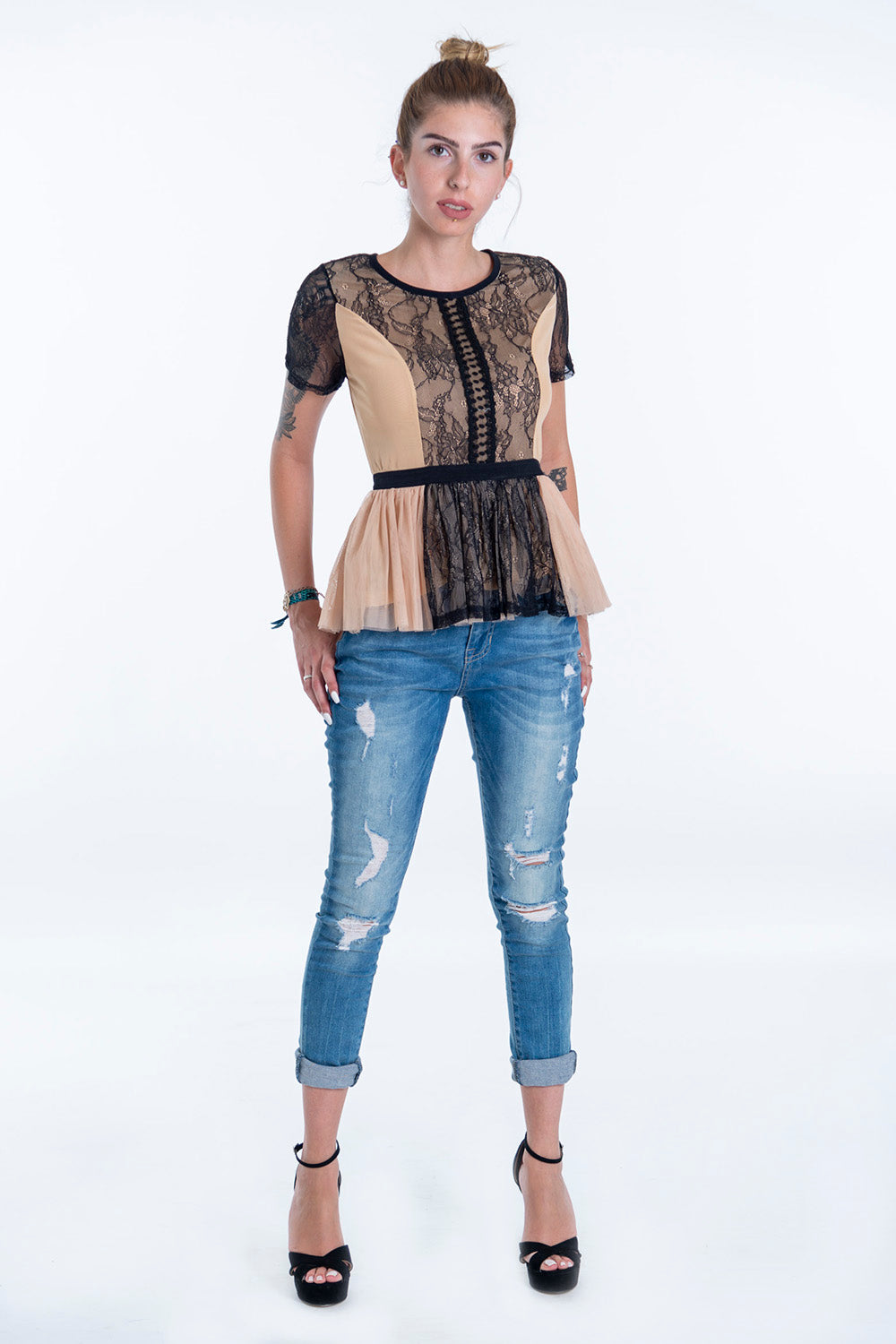 Paccio lace and tulle peplum hem top