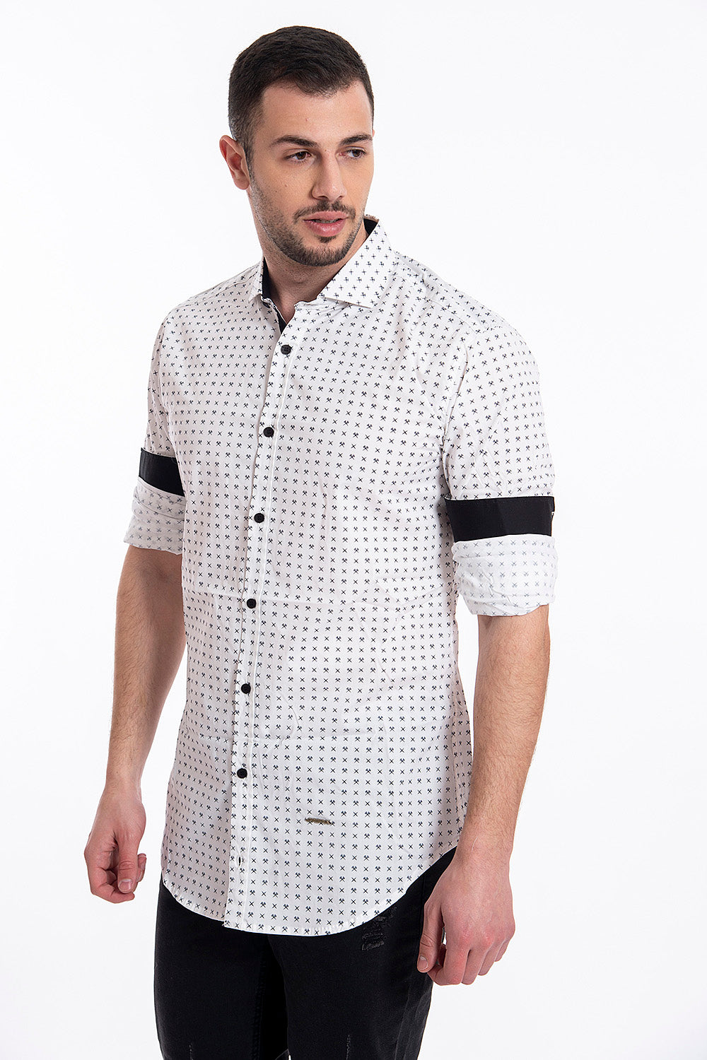 Stefan scissors shirt with contrast collar and cuffs