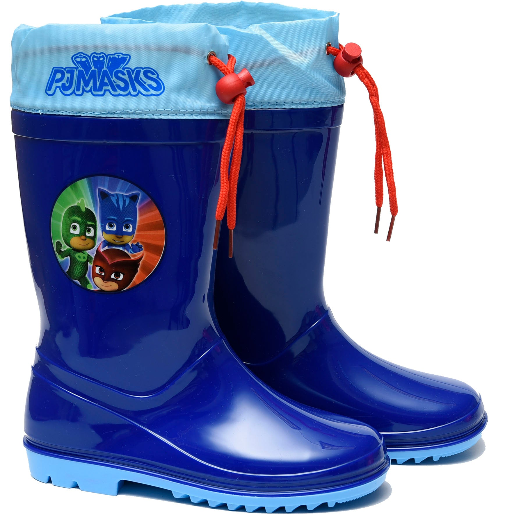 PJ Masks rainboots in blue with logo and drawstring