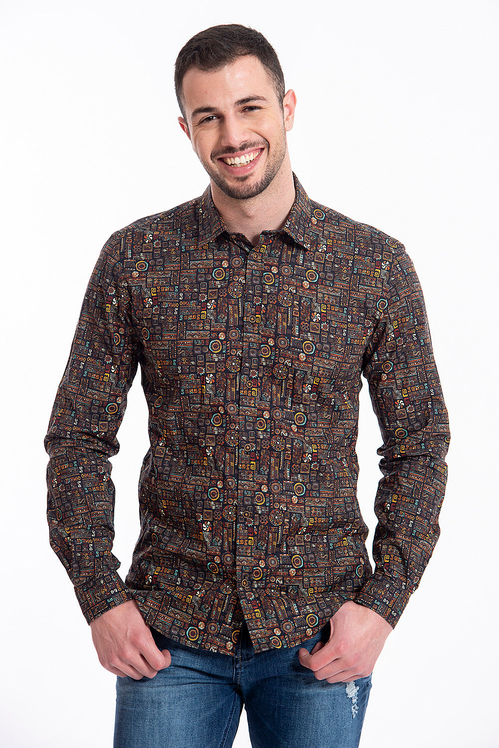 Gianni Lupo aztec print shirt in warm colours