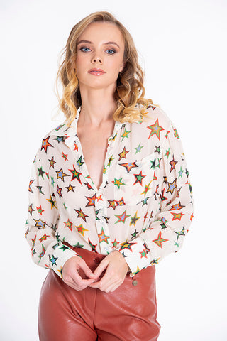 Tensione in colourful stars pattern sheer shirt