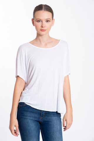 L.A. Dolls scoop neck basic white oversize t-shirt