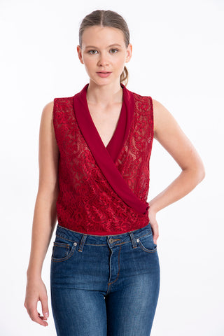Akè full lace sleeveless cawl body top
