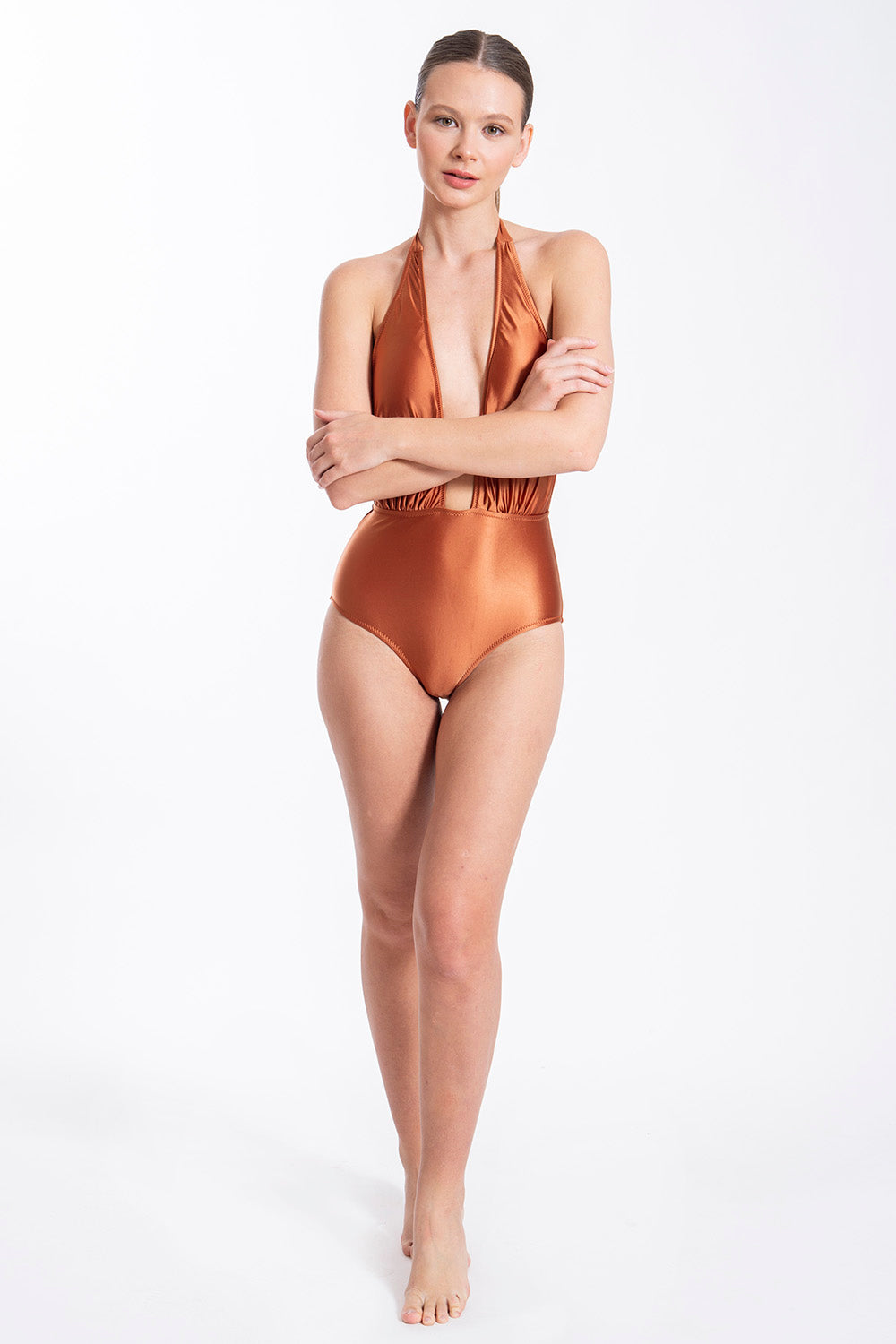 Metallic deep plunge swimsuit with open back