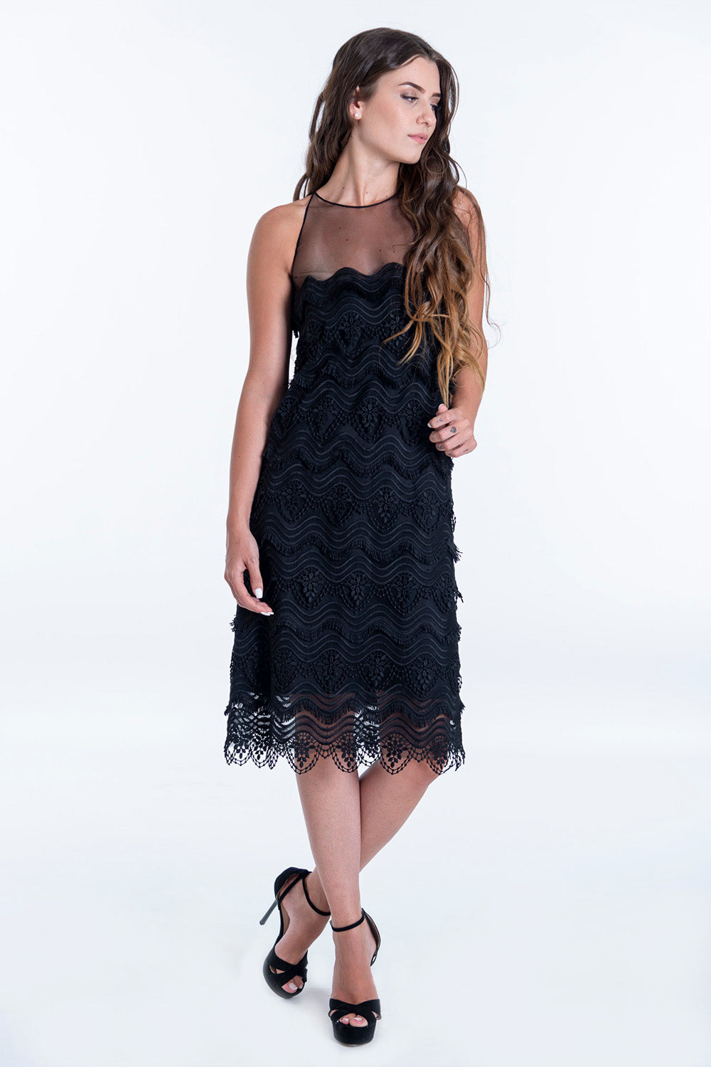 MI-RŌ design lace high neck dress
