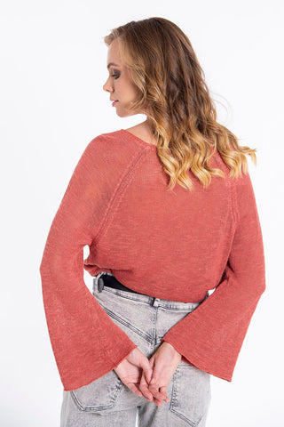 Tensione in knitted top with bell sleeves