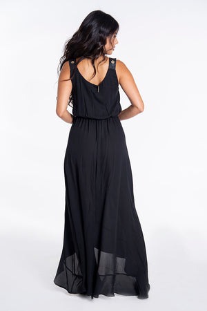 Hellen Batterr crawl neck maxi dress with leather detail