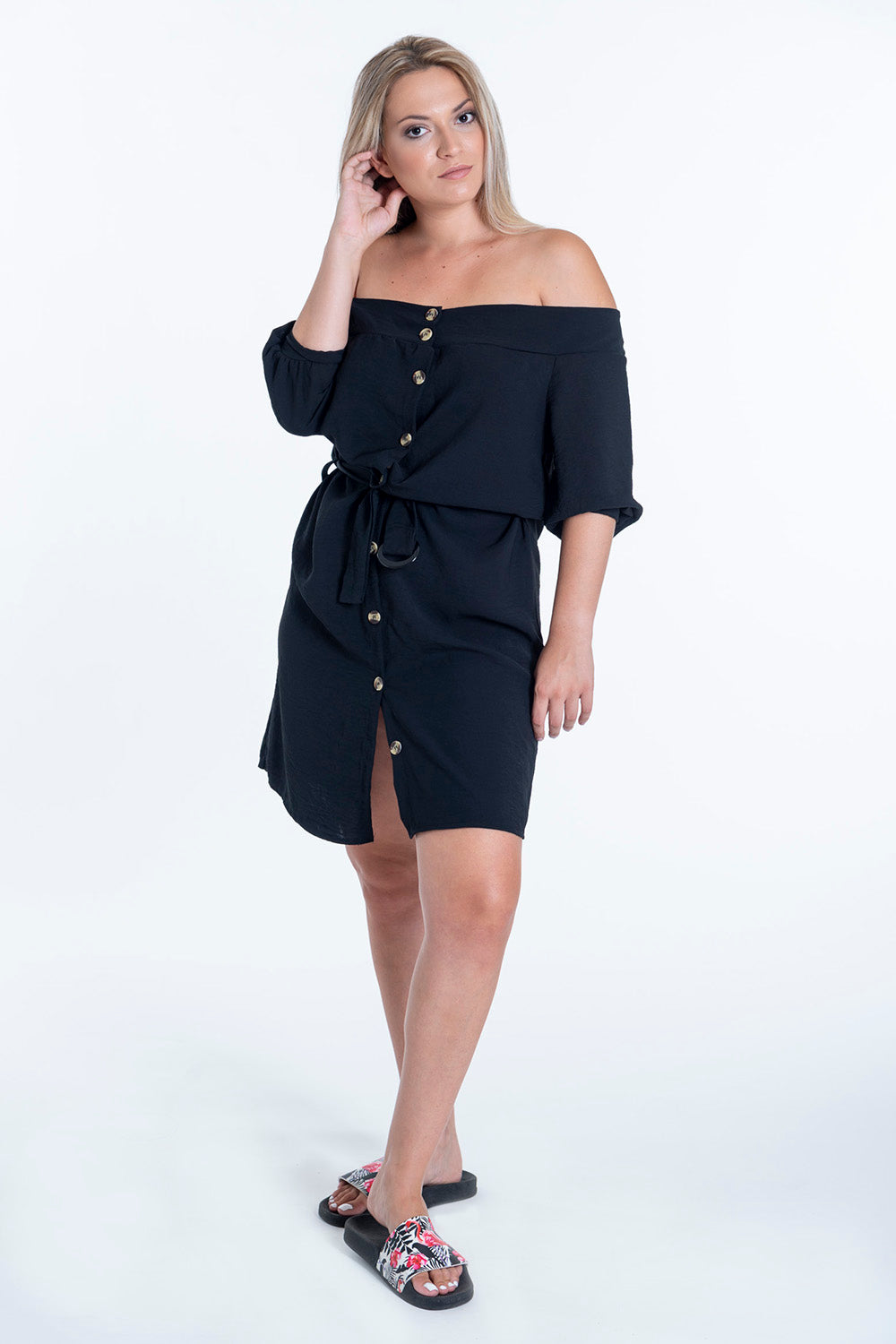 Bardot shirt dress with puff sleeves and contrast buttons