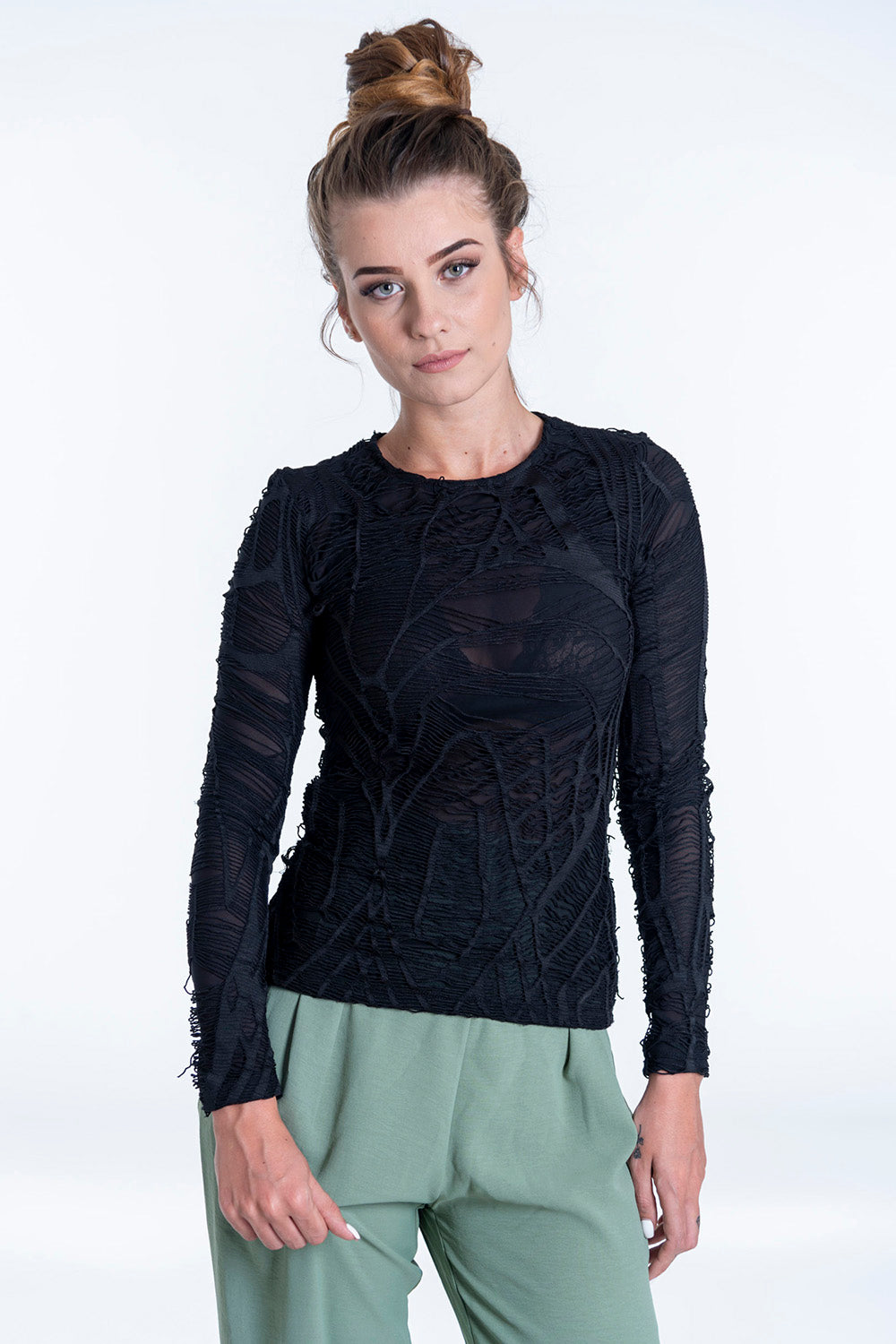KikiRiki ripped long sleeved top