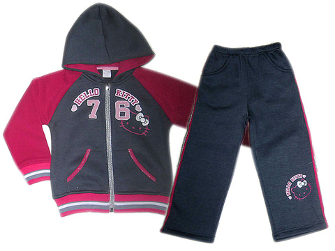 Hello Kitty hooded joggers set with functional pockets