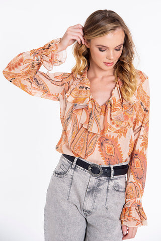 Tensione in paisley sheer with neck frills