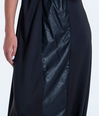 Seva waistband asymetric skirt with leather contrast