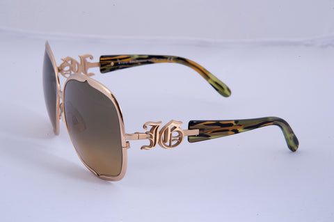 John Galliano gold metal frame