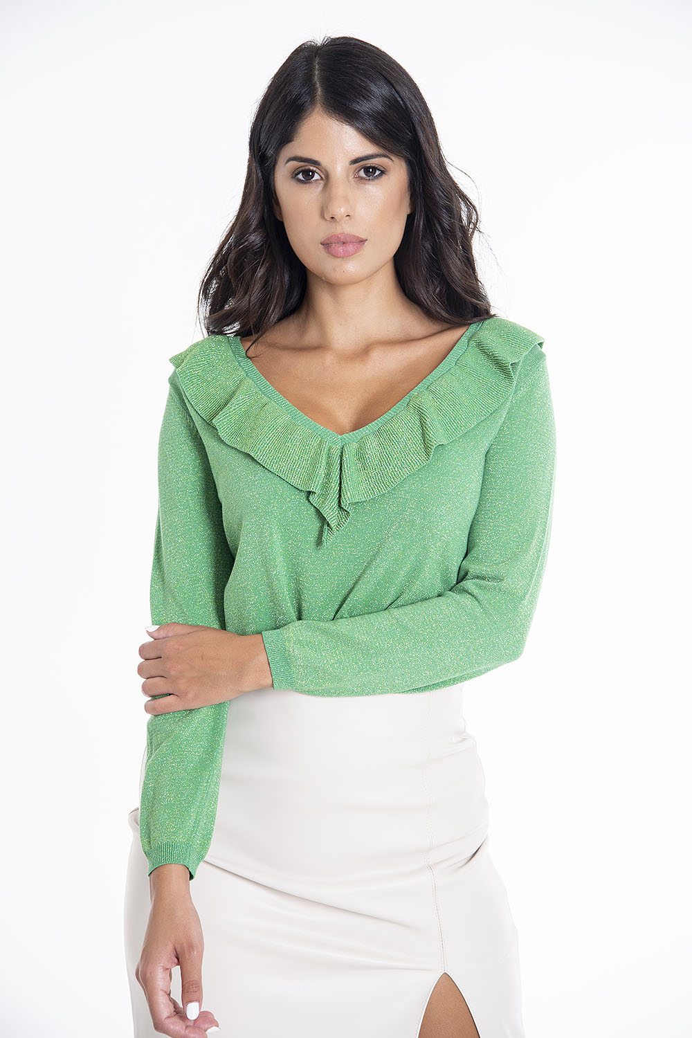 Tensione in sparkle jumper with neck frills