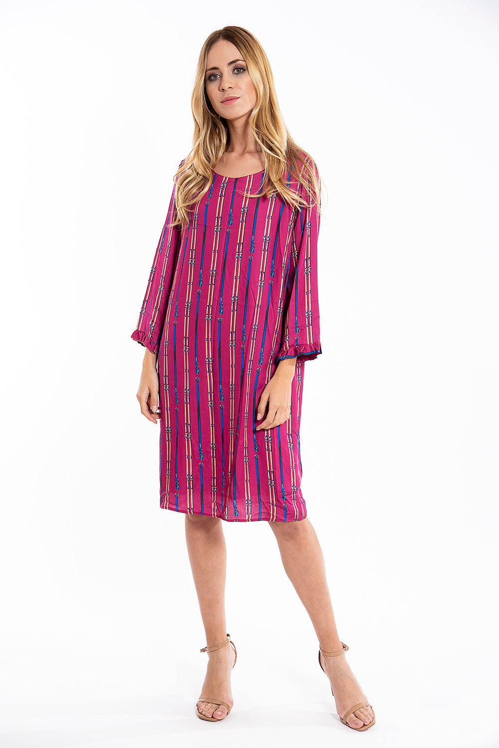 Malvin viscose midi dress with 3/4 sleeves