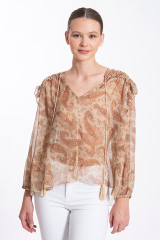 Tensione in sheer top with neck tie and frills