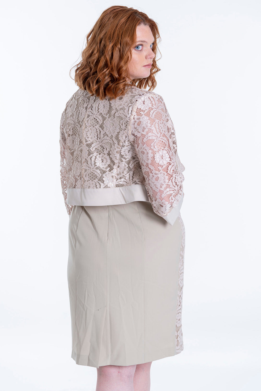 Lace co-ord blazer with pearls neck