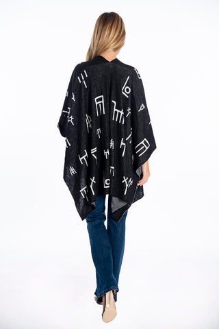 Infinity letters design knitted cape