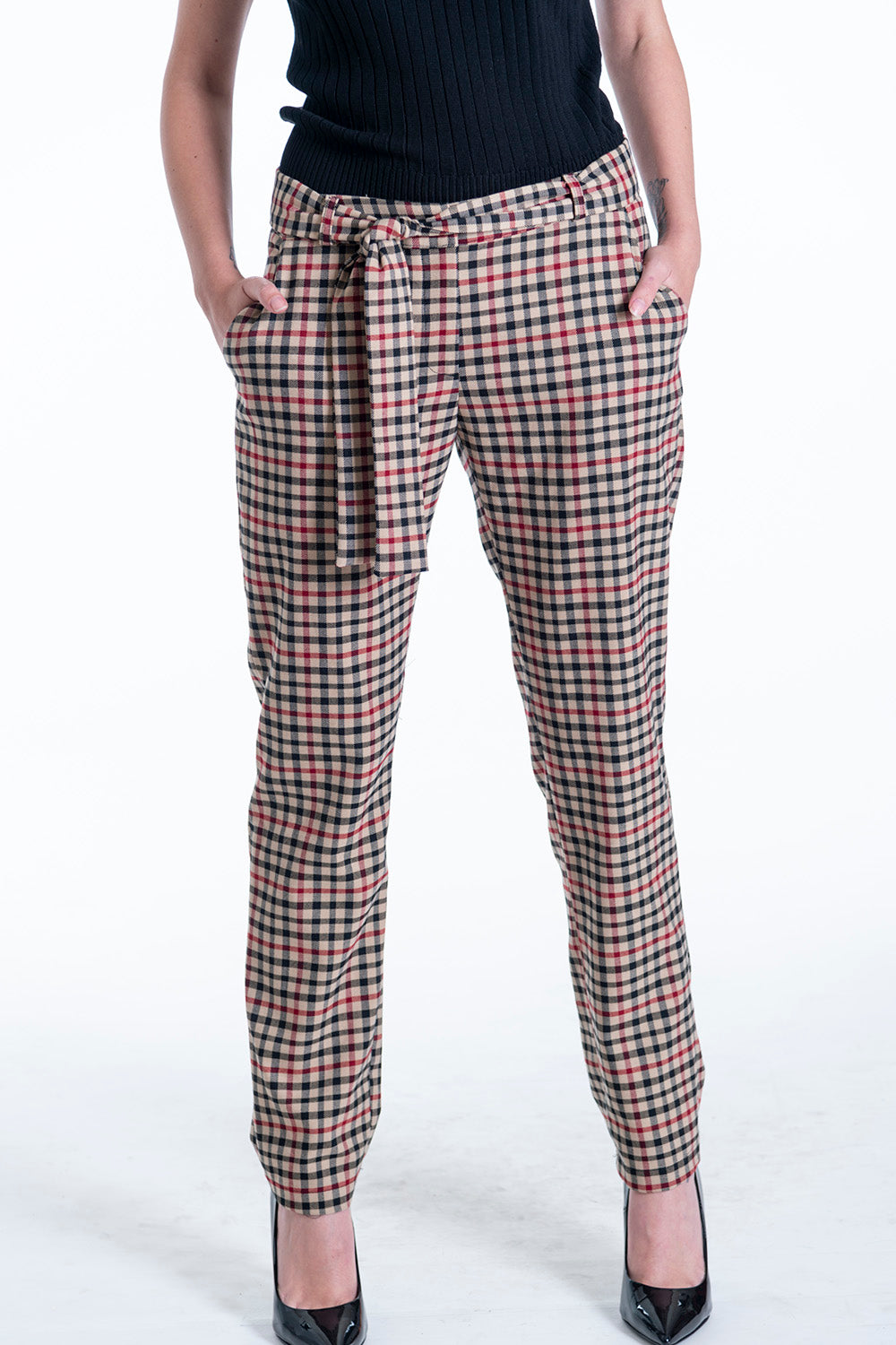 Milkwhite beige check co-ord trousers with belt